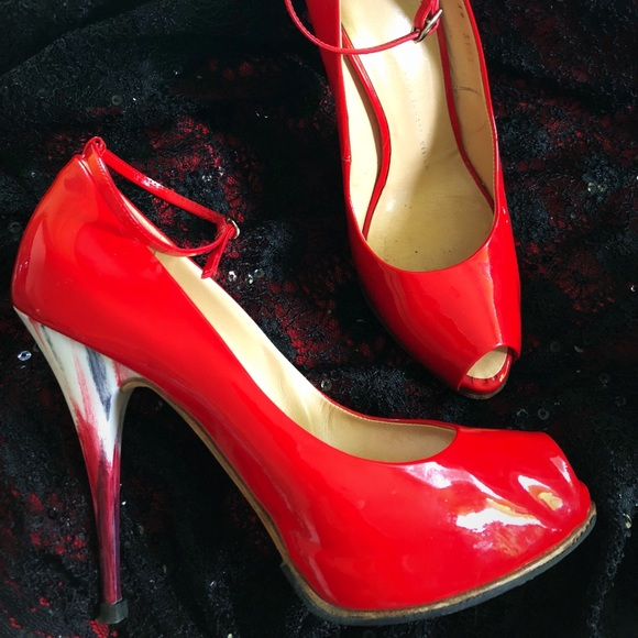 1d92ba070dc56 Guiseppe Zanotti Shoes | Giuseppe Zanotti Red Patent Peep Ankle ...
